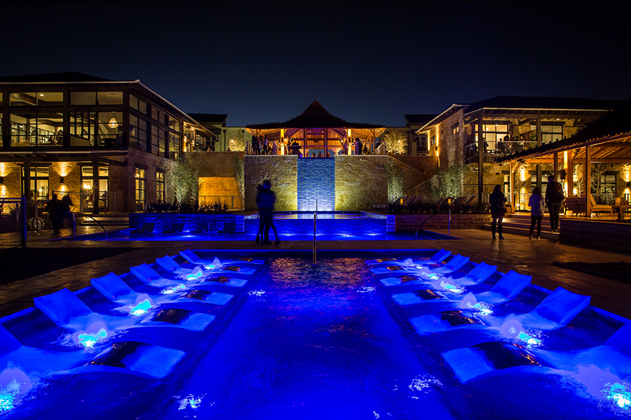 The pools & the waterfall at night