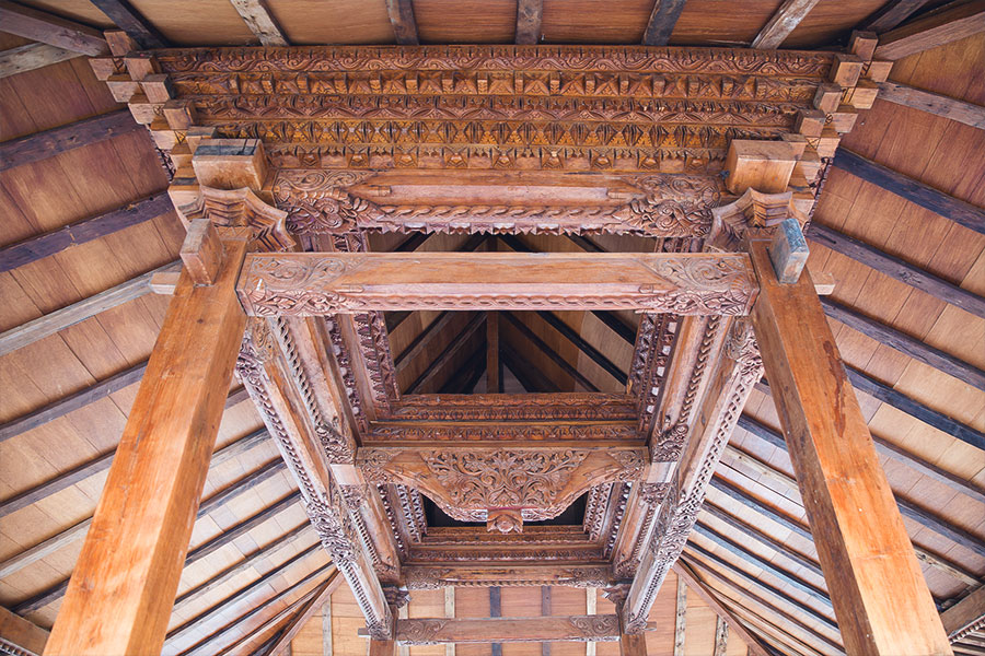 The detailing on the underside of the Joglo