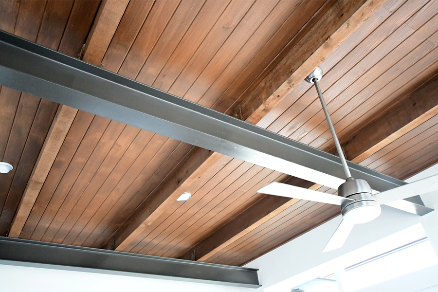 Select units with exposed beam ceilings